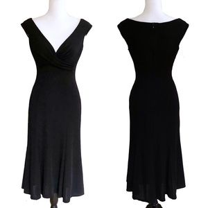 Tadashi Midi Dress L Cocktail Party Stretchy Black